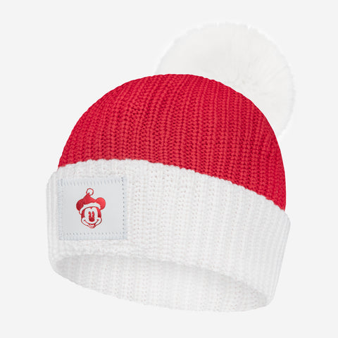 Mickey Mouse Red and White Pom Beanie