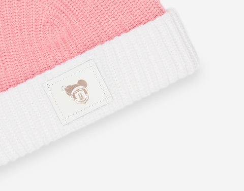 Minnie Mouse Pink and White Pom Beanie