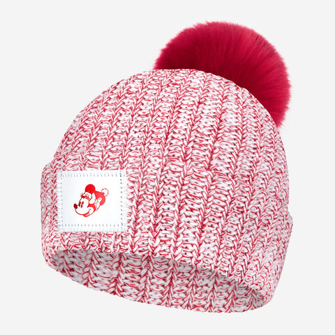 Minnie Mouse Red Speckled Pom Beanie