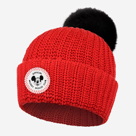 Mickey Mouse Club Adult Red Pom Beanie