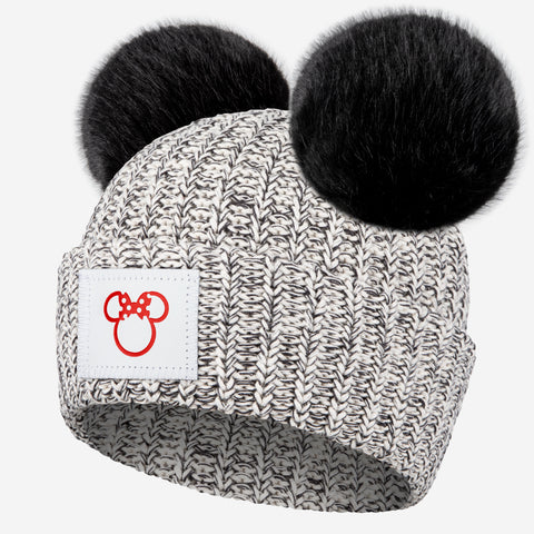 Black Speckled Minnie Mouse Outline Double Pom Beanie
