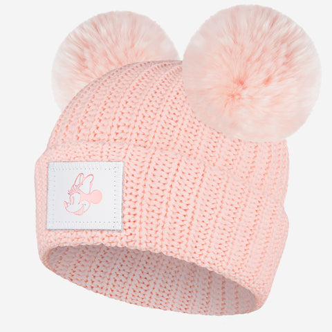 Blush Minnie Mouse Rose Gold Foil Double Pom Beanie