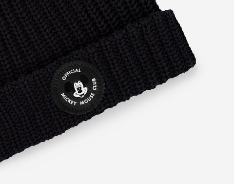 Mickey Mouse Club Adult Black Double Pom Beanie