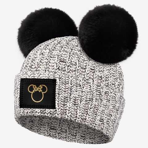 Minnie Mouse Black Speckled Gold Foil Cut Out Double Pom