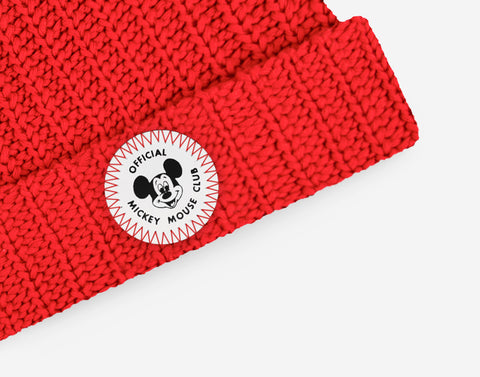 Mickey Mouse Club Adult Red Double Pom Beanie