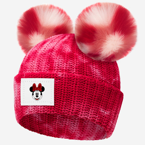 Minnie Mouse Red Tie Dye Double Pom Beanie