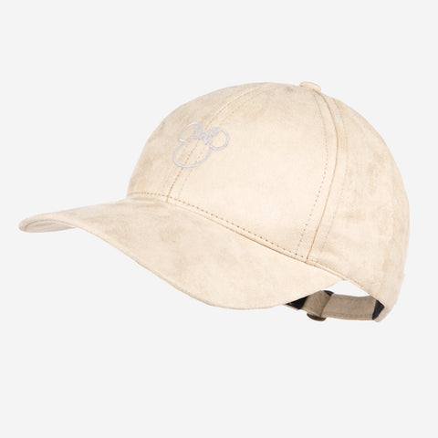 Minnie Mouse Outline White Metallic Natural Suede Cap