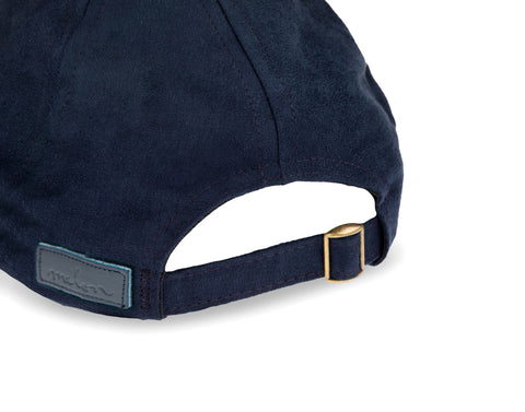 Mickey Mouse Outline Gold Metallic Navy Suede Cap
