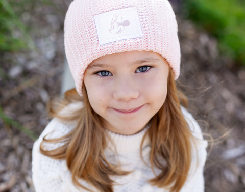 Kids Blush Minnie Mouse Rose Gold Foil Beanie