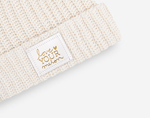 White Speckled Monochrome Gold Foil Cuffed Beanie