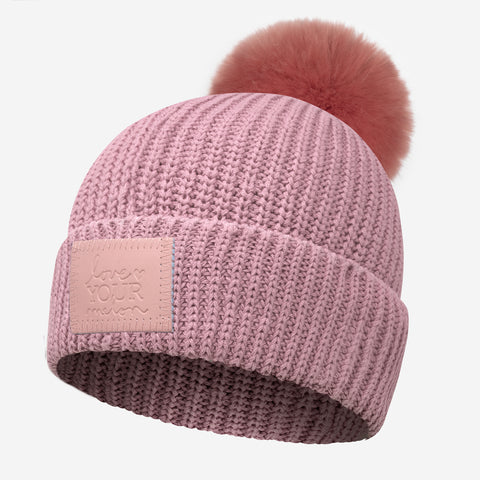 Pale Rose Monochrome Lightweight Pom Beanie