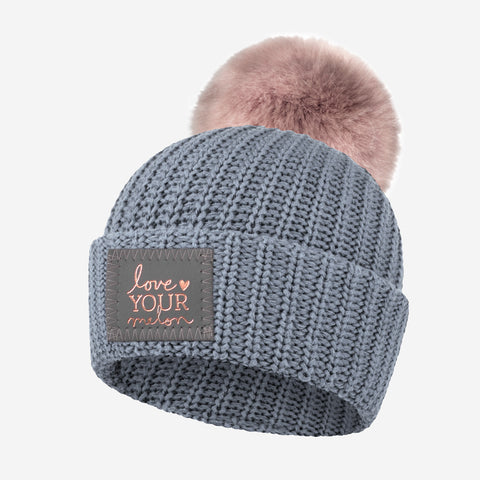 Kids Light Charcoal Rose Foil Pom Beanie
