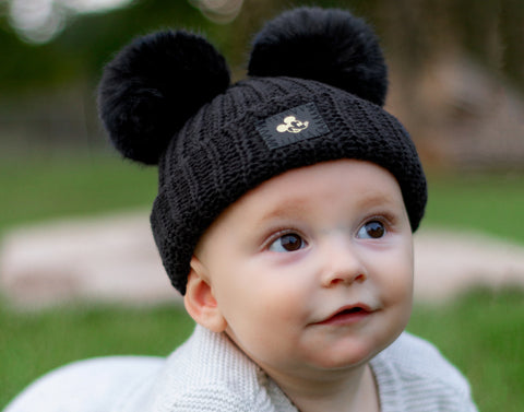 Mickey Mouse Baby Black Gold Foil Double Pom Beanie