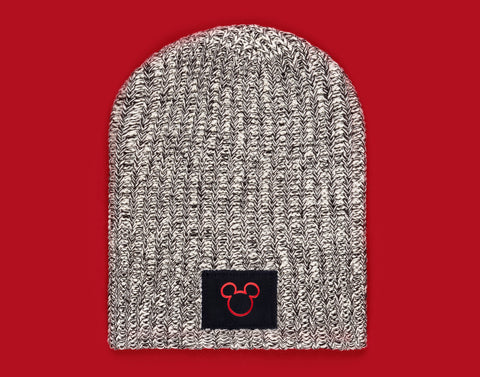 Black Speckled Mickey Mouse Outline Beanie
