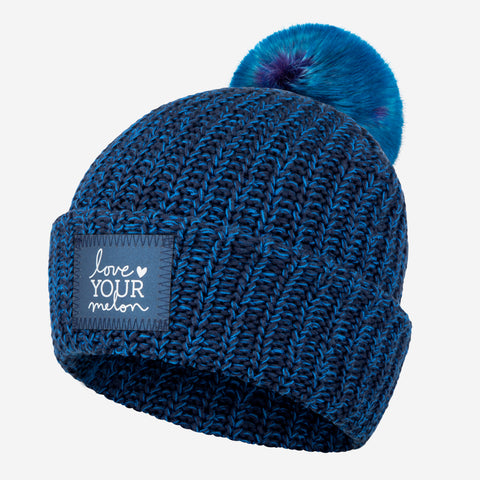 Midnight Speckled Frost Pom Beanie (Navy Reflective)