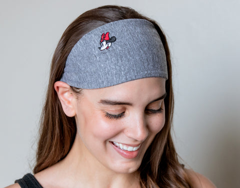 Minnie Mouse Gray Tri-Blend Scrunch Headband