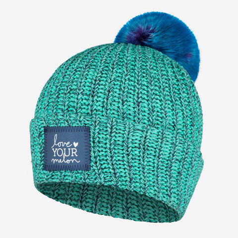 Mint and Navy Speckled Frost Pom Beanie (Navy Reflective)