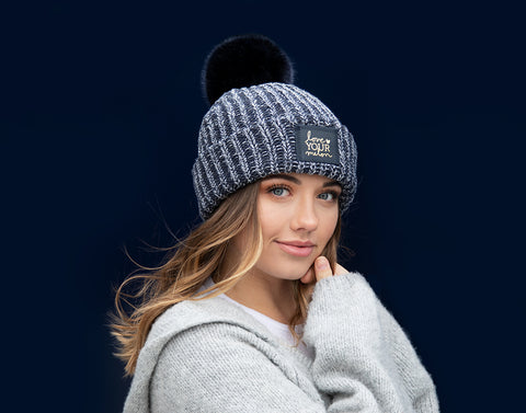 Navy, Charcoal and White Pom Beanie (Navy Gold Foil Patch)-Beanie-Love Your Melon