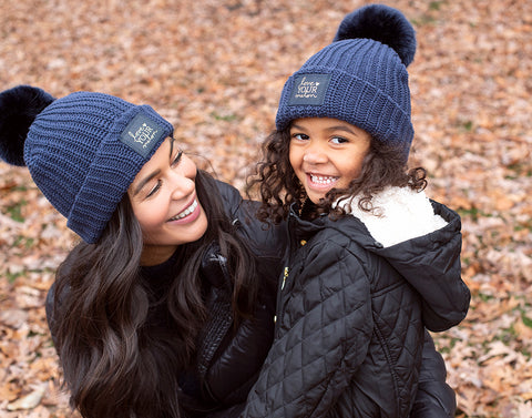 Kids Navy Pom Beanie (Navy Gold Foil Patch)-Beanie-Love Your Melon