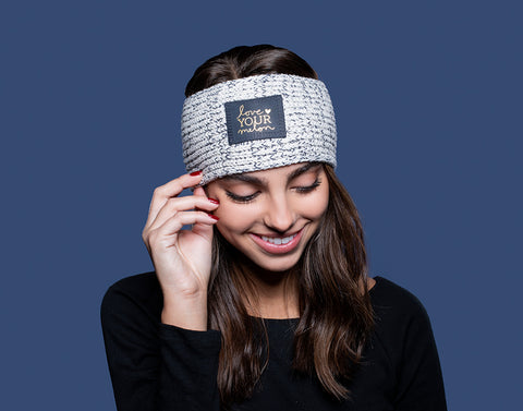 Navy Speckled Gold Foil Knit Headband (Navy Leather Patch)-Knit Headband-Love Your Melon