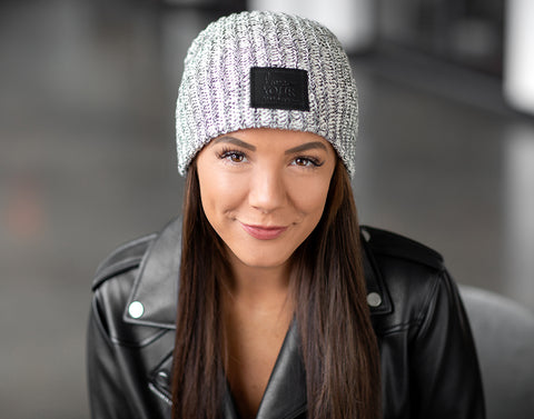 Black Speckled Beanie (Black Leather Patch)