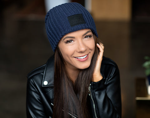 Navy Beanie (Black Leather Patch)-Beanie-Love Your Melon