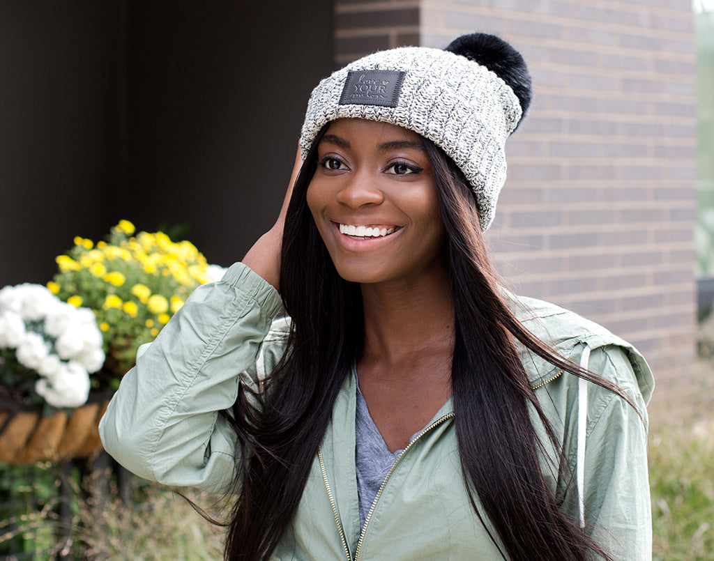 Black Speckled Pom Beanie (Black Leather Patch) Wholesale