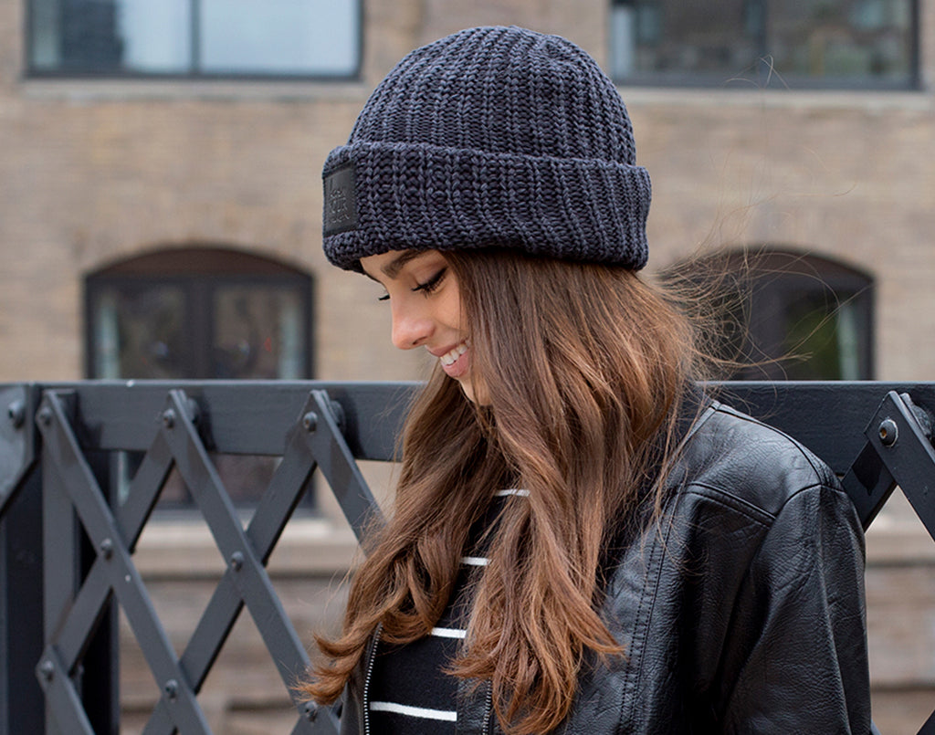 39735c164ff Love Your Melon Smoke Speckled Cuffed Beanie (Black Leather Patch)