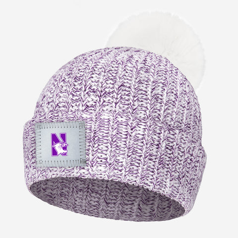Northwestern Wildcats Purple Speckled Pom Beanie (White Pom)