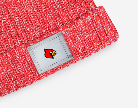 Louisville Cardinals Red and White Speckled Pom Beanie (White Pom)