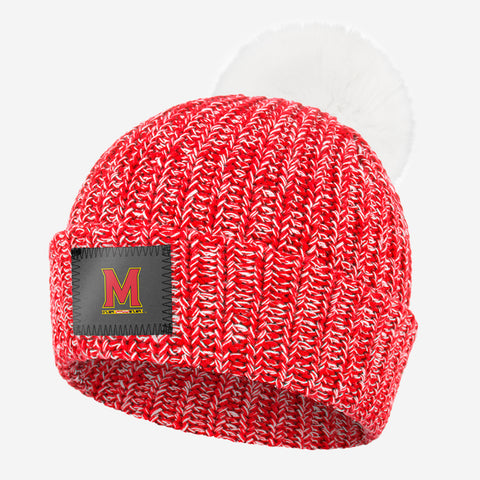 Maryland Terrapins Red and White Speckled Pom Beanie (White Pom)