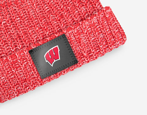 Wisconsin Badgers Red and White Speckled Beanie (White Pom)