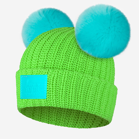 Neon Green Double Pom Beanie (Neon Teal Poms)