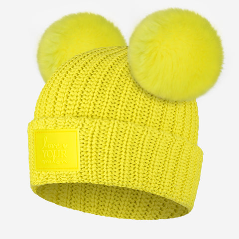 Neon Yellow Double Pom Beanie