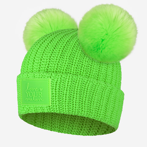 Neon Green Double Pom Beanie