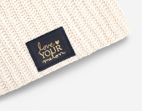 White Speckled Beanie (Navy Gold Foil Patch)