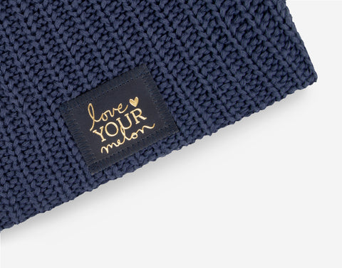 Navy Beanie (Navy Gold Foil Patch)-Beanie-Love Your Melon