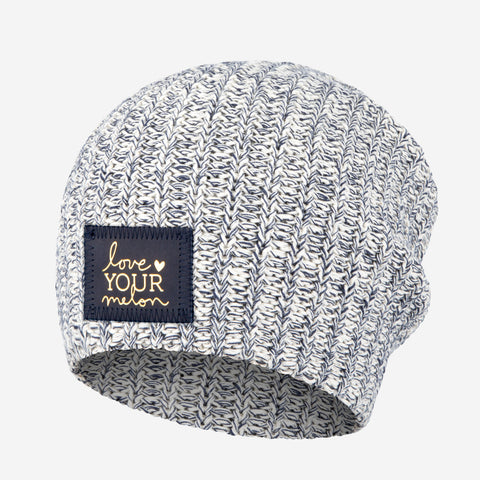 Navy Speckled Beanie (Navy Gold Foil Patch)