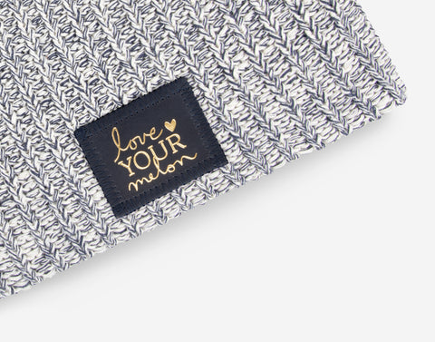 Navy Speckled Beanie (Navy Gold Foil Patch)-Beanie-Love Your Melon