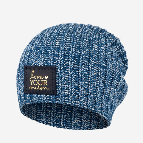 Summit Speckled Beanie (Navy Gold Foil Patch)