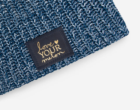 Summit Speckled Beanie (Navy Gold Foil Patch)-Beanie-Love Your Melon