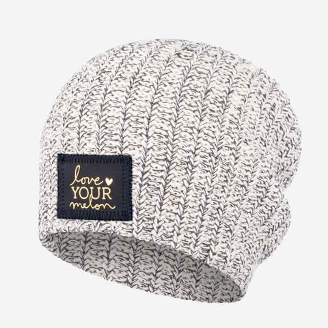 Charcoal Speckled Beanie (Navy Gold Foil Patch)-Beanie-Love Your Melon
