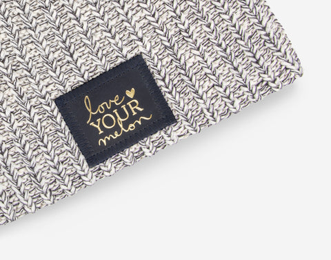 Charcoal Speckled Beanie (Navy Gold Foil Patch)