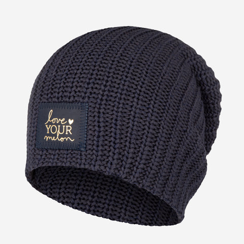 Charcoal and Navy Speckled Beanie (Navy Gold Foil Patch)-Beanie-Love Your Melon