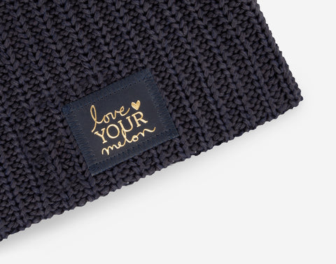 Charcoal and Navy Speckled Beanie (Navy Gold Foil Patch)