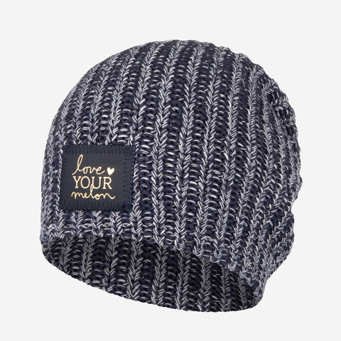 Navy, Charcoal and White Speckled Beanie (Navy Gold Foil Patch)