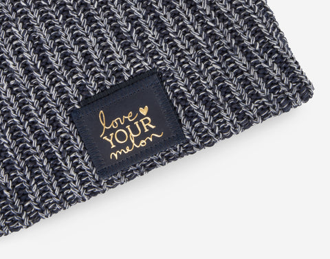 Navy, Charcoal and White Speckled Beanie (Navy Gold Foil Patch)-Beanie-Love Your Melon