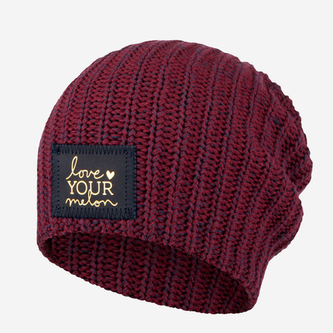Burgundy and Navy Speckled Beanie (Navy Gold Foil Patch)
