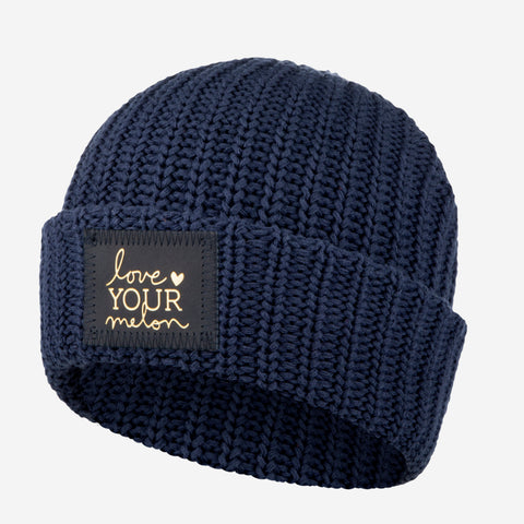 Navy Cuffed Beanie (Navy Gold Foil Patch)-Beanie-Love Your Melon