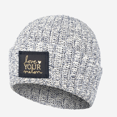 Navy Speckled Cuffed Beanie (Navy Gold Foil Patch)
